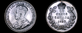 1936 Canada 10 Cent World Silver Coin - Canada - George V - $59.99