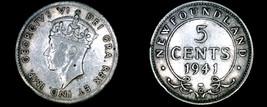 1941-C Newfoundland 5 Cent World Silver Coin - Canada - $14.99