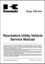 2008-2009 Kawasaki Teryx 750 4X4 UTV Service Repair Workshop Manual CD - $12.00