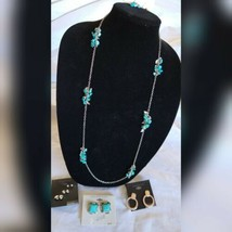Fashion Jewelry Turquoise Silver Tones Earrings Necklace Set Holiday Gift  - $28.05