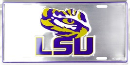 LSU Tigers Logo Embossed Chrome Metal Auto Tag License Plate Sign - $6.95