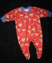 Boys 6 Months   Gerber    Go Team Animals On Red Blanket Sleeper - $4.00