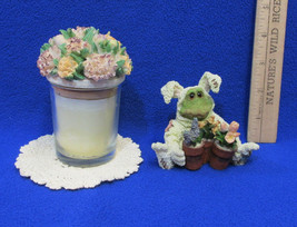 Boyds Bears Frog Folkstone Ribbet Figurine Doily & Candle in Jar w/ Lid Lot of 3 - $10.88