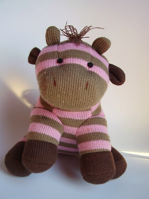 Pink Brown Striped Giraffe Plush Stuffed Animal Knitted Sock Monkey Style Toy