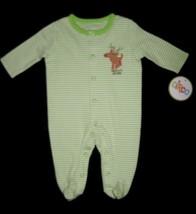 Infants Newborn   Circo Green Stripe Santas Helper Holiday Sleep N Play Bodysuit - $10.00
