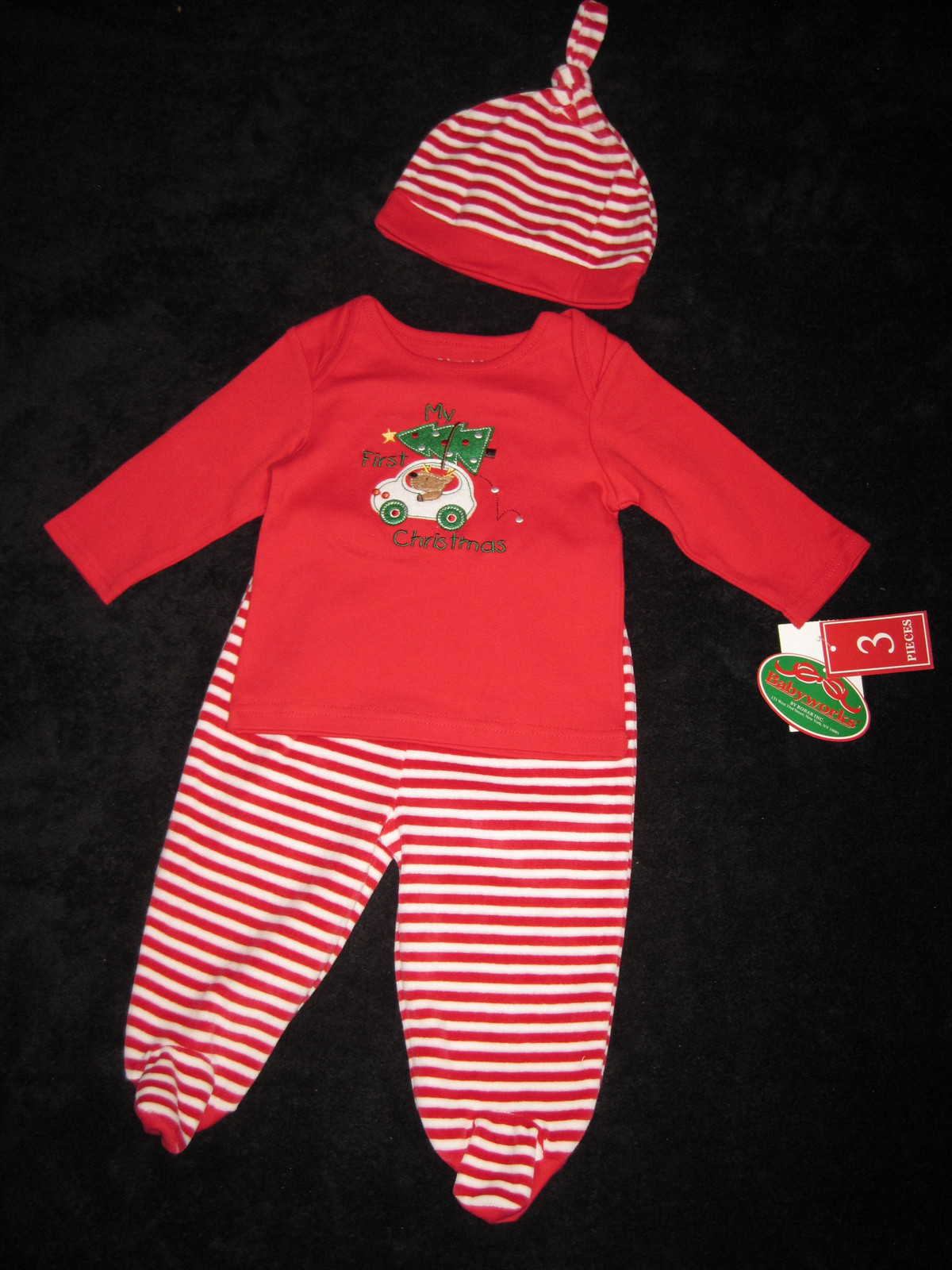 BOYS 3-6 MONTHS - Baby Works - My First Christmas HAT, FOOTED PANTS & SHIRT SET