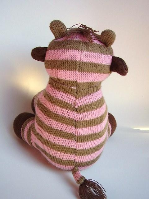 Pink Brown Striped Giraffe Plush Stuffed Animal Knitted Sock Monkey Style Toy