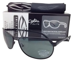 a58a598b2386b SMITH OPTICS Tactical Sunglasses GRAY MAN Black Aviator w Grey ANSI Z87.1  Lenses