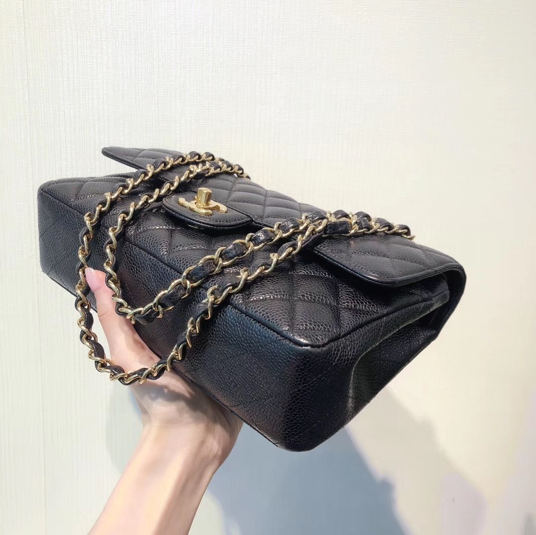 100% AUTH MINT Chanel BLACK QUILTED CAVIAR MEDIUM DOUBLE FLAP BAG GHW
