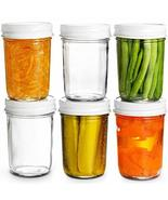 TkGoods 8 Oz Glass Mason Jars Wide Mouth (6 Pack) Glass Jars with Metal ... - $29.70