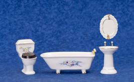 Dollhouse Miniature Bathoom 4pc Decorated Porcelain Bathroom Set - $25.73