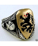 Heraldic Lion Mens Shield ring   sterling silve... - $127.71
