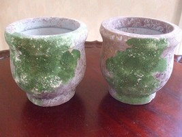 """Cement Planters Pots Green Plume Color Small Round 4.5"""" x 4.5"""" Pair New - $12.82"""