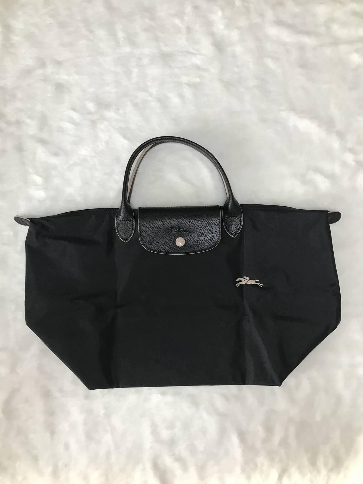 Longchamp Club Collection Horse Embroidery Short Handle Medium Handbag Black