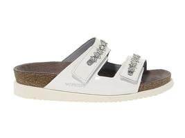 Sandales plates MEPHISTO HERMINE en cuir verni blanc - Chaussures Femme - $139.77