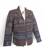 Coldwater Creek Artsy Jacket 12 Embroidered and Beaded Blue Brown Cotton - $10.39