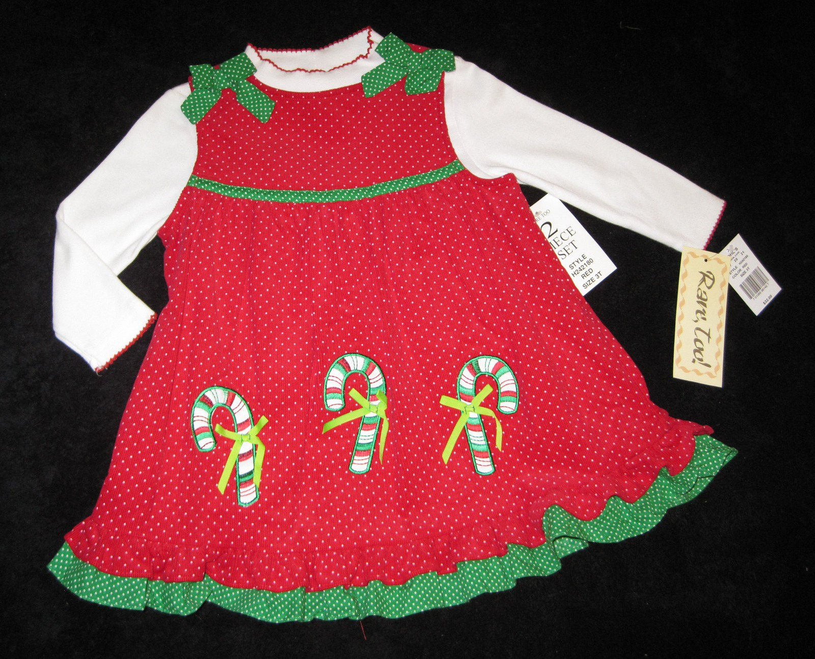 Primary image for GIRLS 4T - Rare Too -  Candy Canes on Red Corduroy HOLIDAY JUMPER SET