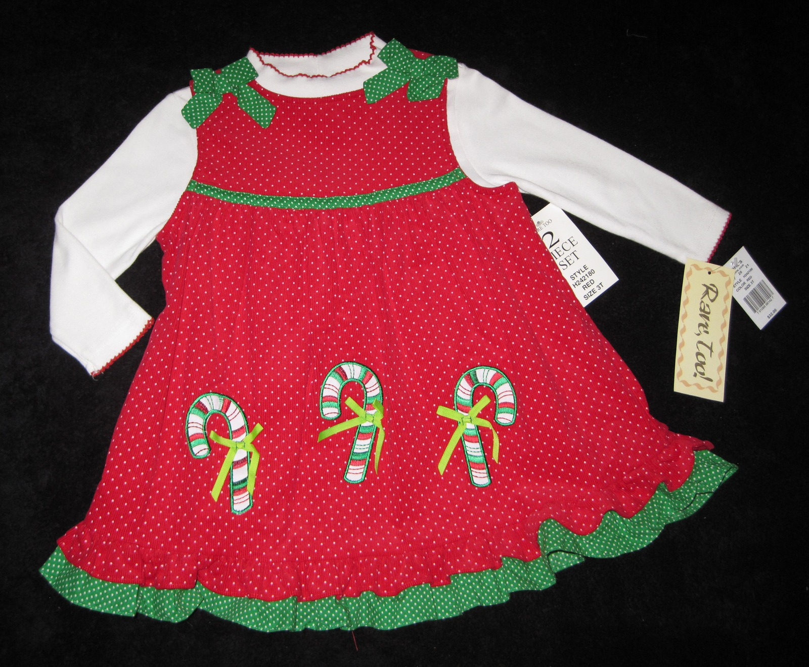 GIRLS 4T - Rare Too -  Candy Canes on Red Corduroy HOLIDAY JUMPER SET image 2
