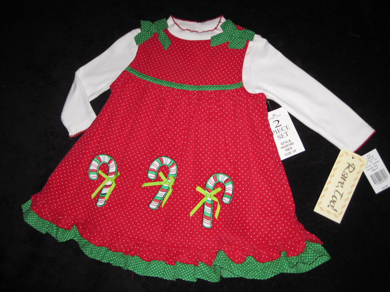GIRLS 4T - Rare Too -  Candy Canes on Red Corduroy HOLIDAY JUMPER SET image 3