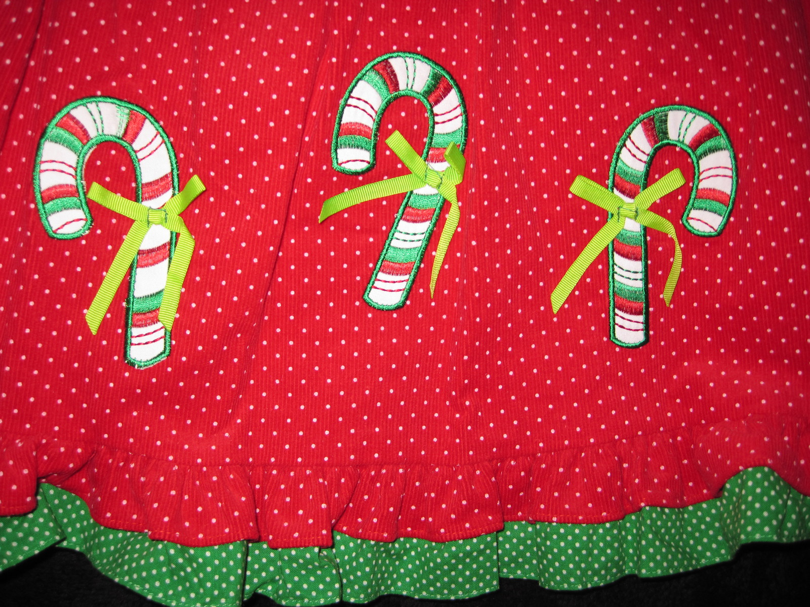 GIRLS 4T - Rare Too -  Candy Canes on Red Corduroy HOLIDAY JUMPER SET image 4