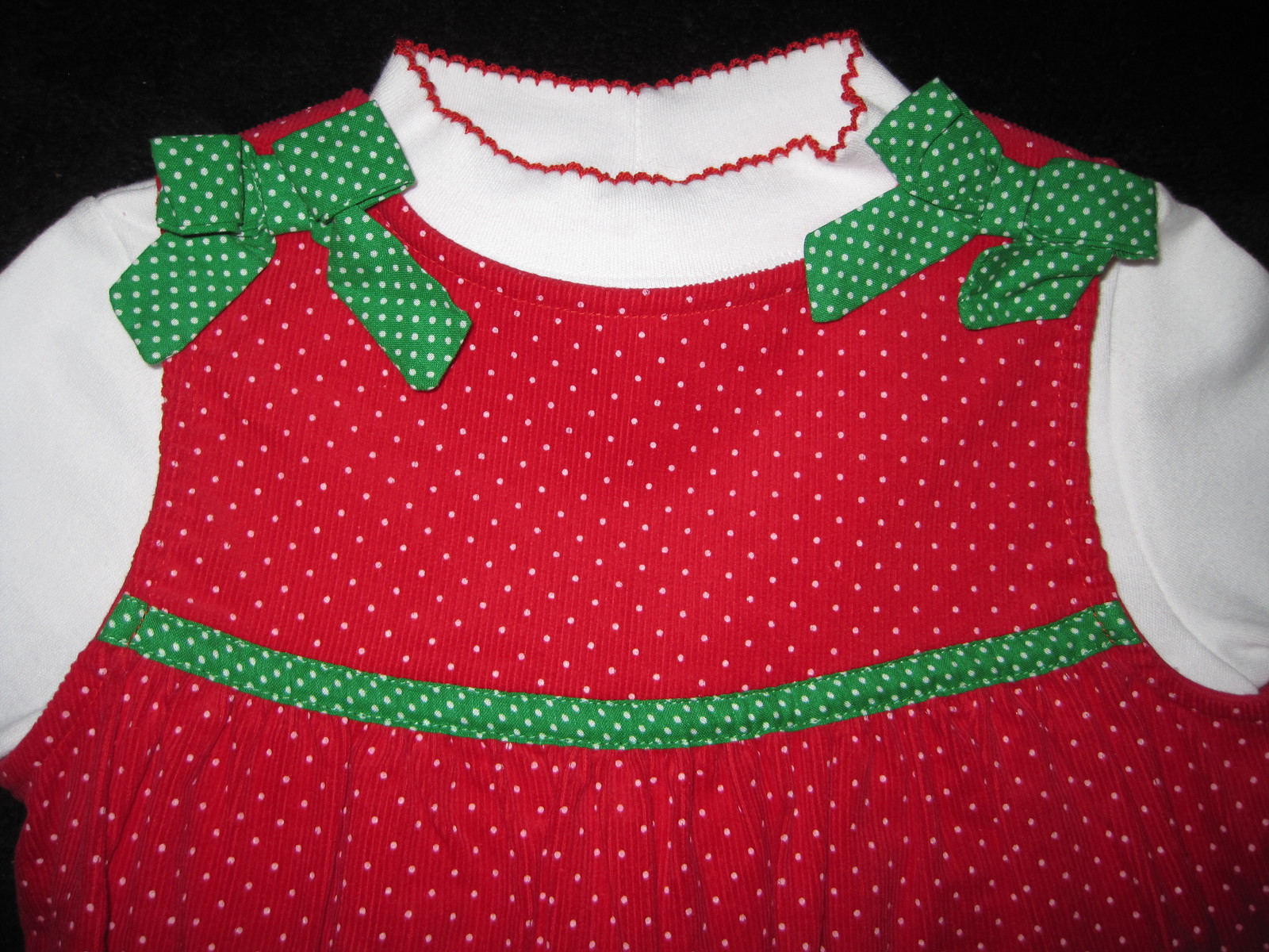 GIRLS 4T - Rare Too -  Candy Canes on Red Corduroy HOLIDAY JUMPER SET image 5