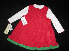 GIRLS 4T - Rare Too -  Candy Canes on Red Corduroy HOLIDAY JUMPER SET image 6