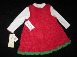 GIRLS 4T - Rare Too -  Candy Canes on Red Corduroy HOLIDAY JUMPER SET image 7