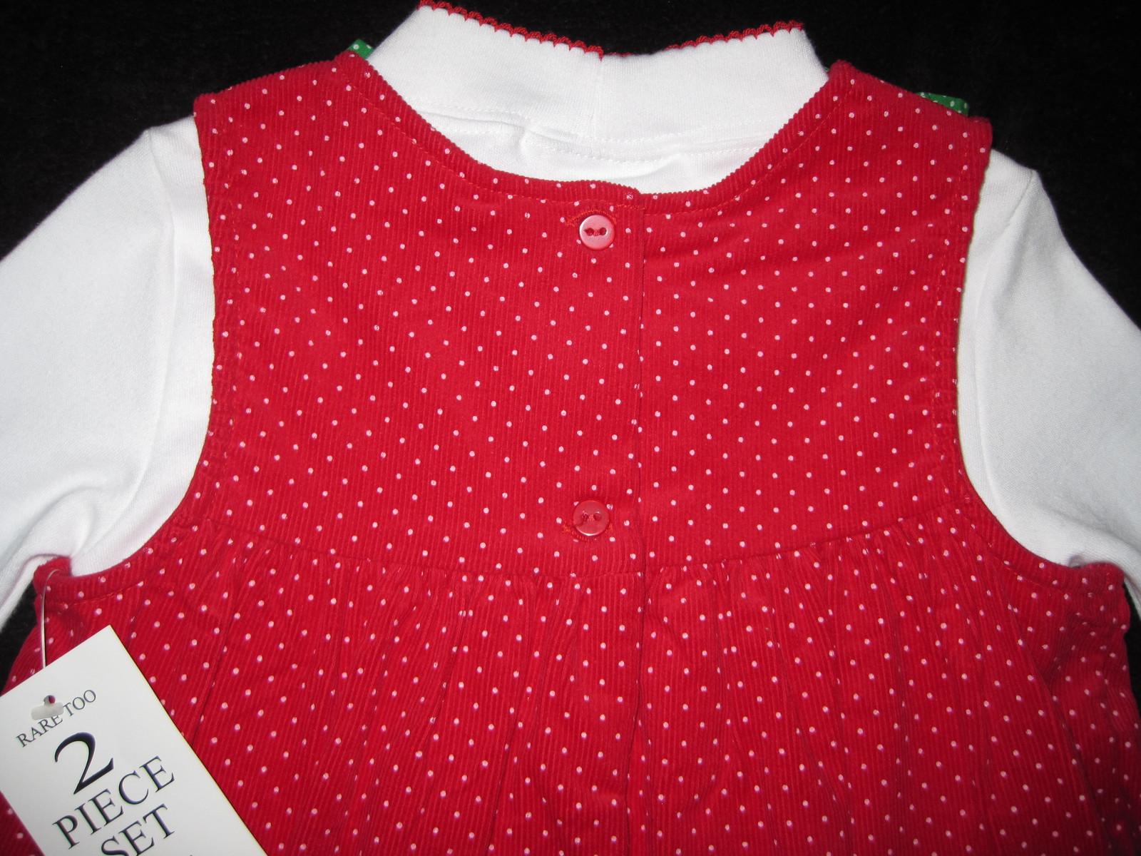 GIRLS 4T - Rare Too -  Candy Canes on Red Corduroy HOLIDAY JUMPER SET image 8