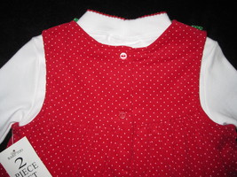 GIRLS 4T - Rare Too -  Candy Canes on Red Corduroy HOLIDAY JUMPER SET image 9
