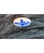 Wonderful Deep Blue Delft Holland Oval Porcelain Windmill Brooch - $9.49