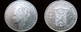 1933 Netherlands 2 1/2 Gulden World Silver Coin - $69.99