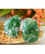Vintage polished natural green stone mens cufflinks free form toggle thumbtall