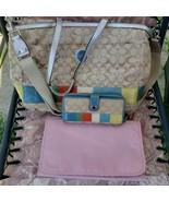 COACH LARGE SIGNATURE STRIPE BABY BAG DIAPER PURSE TOTE F17442 W/WALLET - $123.75