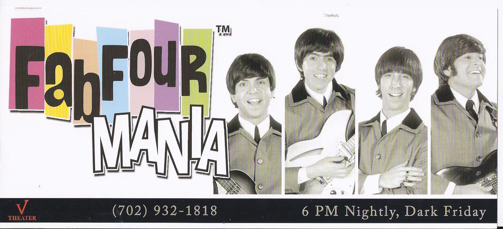 Fabfour Mania Beatles @Aladdin Hotel Las Vegas Promo Card