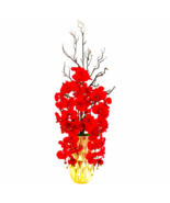 Red Phalaenopsis Orchid Artifical Arrangement in Gold Vase - $109.69