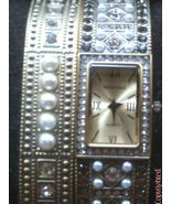 "Estate Heidi Daus ""Double Trouble"" Crystal Pearl Watch & Bangle Set Medi... - $69.00"