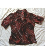 EAST 5TH  2Pc  button Short Sleeve Sheer Blouse  with  Inner Cami  Tank ... - $4.99