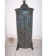 "Antique Round  Cast Iron Parlor Stove Heater 35"" T  13"" W Original Blue ... - $600.00"
