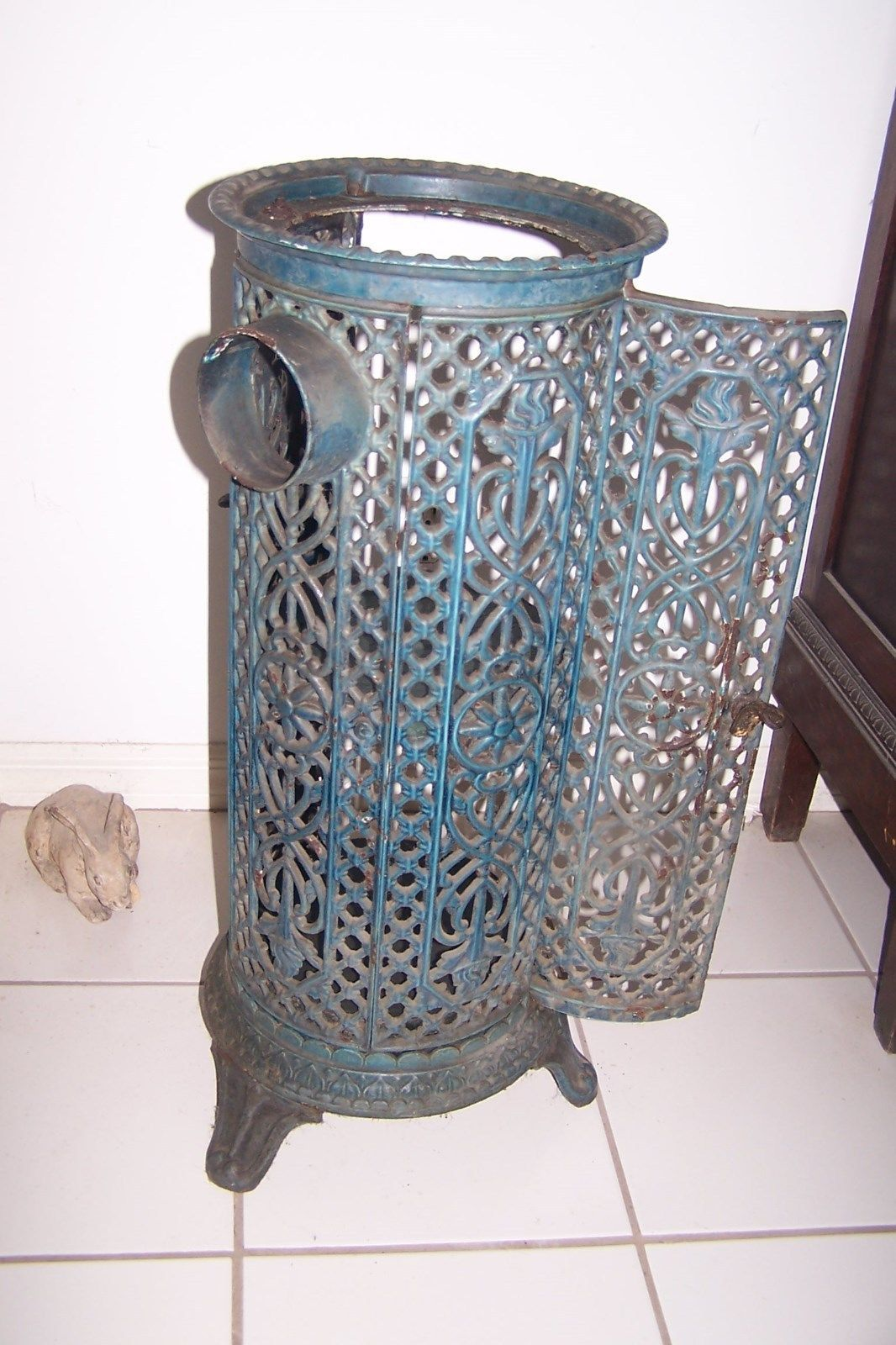 Antique Cast Iron ~ Antique round cast iron parlor stove heater and similar