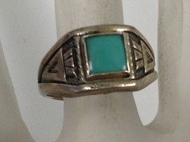 VINTAGE BELL TRADING POST STERLING SILVER TURQUOISE RING s 6.5 - €27,14 EUR