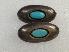 VINTAGE STERLING SILVER SHADOW BOX TURQUOISE EARRINGS MARKED B - $29.69