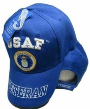 US Air Force Veteran Hat Letters On Bill Crest Blue Embroidered Cap - $19.79