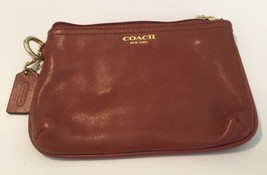 Coach Legacy Coin Bag Brown Leather Small Coin Zipper Pouch Missing Strap - $26.72