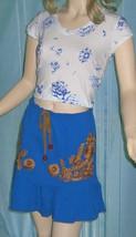 Victoria's Secret $39 Blue & Gold Embroidered Cotton Knit Skirt Large - $13.00