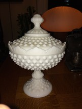 Vtg FENTON Hobnail WHITE MILK GLASS Round CANDY BOX Dish JAR w/LID  FOoted - $40.21
