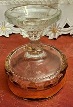 Indiana Glass Kings Crown Compote Candy Dish Gold Rimmed Flashing Thumbprint image 5