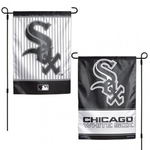"CHICAGO WHITE SOX TEAM GARDEN WALL FLAG BANNER 12"" X 18"" 2 SIDED MLB BASEBALL"