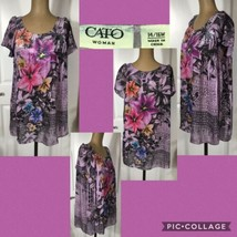 Cato Woman Tunic Top Size 14/16 W Pretty Floral Butterfly Sleeves Polyes... - $7.91