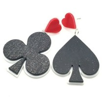 Black Red Heart Club Spades Poker Fun Fashion Stylish Trendy Dangle Earr... - $14.36