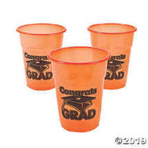 "Orange ""Congrats Grad"" Disposable Cups  - $10.36"